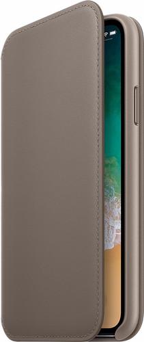 Apple iPhone X Leather Folio Book Case Taupe Main Image
