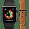 Apple Watch Series 3 42mm Space Gray Zwart Bandje + DBramante1928 Leren Bandje Bruin