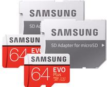 Samsung MicroSDXC EVO+ 64 Go 100 Mo/s CL 10 + Adapter SD Lot de 2