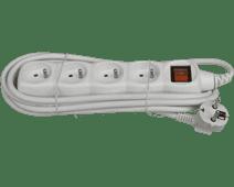Deltac Multiprise 230 V Blanche 3 mètres