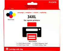 Pixeljet 34XL-Lot de 4 Couleurs pour Epson (C13T34764010)