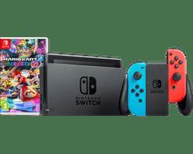 Nintendo Switch (2019 Upgrade) Red/Blue Mario Kart Bundle