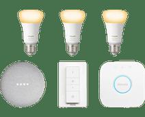 Philips Hue White Ambiance Starter Pack E27 + Google Nest Mini Wit