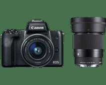 Canon EOS M50 Zwart + 15-45mm IS STM + Sigma 30mm f/1.4 DC DN