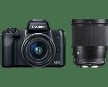 Canon EOS M50 Zwart + 15-45mm IS STM + Sigma 16mm f/1.4 DC DN