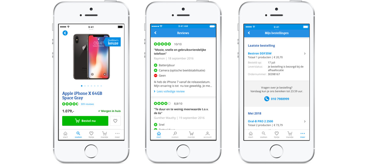 Example of three iPhones using Coolblue's app