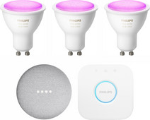 Philips Hue White & Colour GU10 Kit de démarrage + Google Nest Mini Blanc