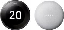 Nest Learning Thermostat V3 Premium Zwart + Google Nest Mini Wit