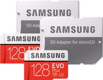 Samsung MicroSDXC EVO+ 128 Go 100 Mo/s CL10 + Adaptateur SD Lot de 2