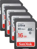 SanDisk SDHC Ultra 16GB Class 10 Quad Pack