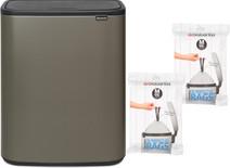 Brabantia Bo Touch Bin 60 Liter Platinum + Vuilniszakken (60 stuks)