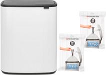 Brabantia Bo Touch Bin 60 Liter Wit + Vuilniszakken (60 stuks)