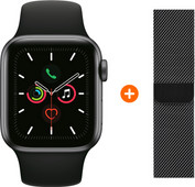 Apple Watch Series 5 44mm Space Gray Zwarte Sportband + Polsband Milanees Spacezwart