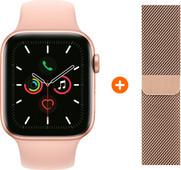 Apple Watch Series 5 44 mm Or Bracelet Sport Rose + Bracelet Milanais Or