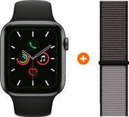 Apple Watch Series 5 40mm Space Gray Zwarte Sportband + Nylon Sport Loop Anchor Gray