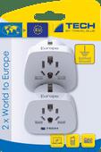 Travel Blue 2 x World Adapter - Europe
