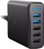 Anker PowerPort Speed Chargeur 3 ports USB + 2 ports USB Quick Charge 3.0 12 A Noir