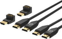 BlueBuilt HDMI Cable Nylon Duo Pack 1.5 Meters Black + 90° Adapter