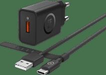 Chargeur BlueBuilt avec 1,5 m de câble USB-C 18W Quick Charge 3.0 Noir