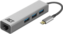 ACT USB-C 3-poorts hub met ethernet