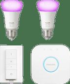 Philips Hue White & Colour Kit de démarrage E27 avec 2 ampoules + 1 variateur