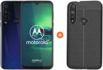 Motorola Moto G8 Plus Bleu + Just in Case Soft Design Back Cover Noir