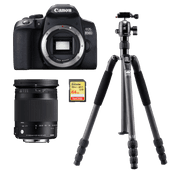 Canon EOS 850D + Sigma 18-300mm DC Macro OS HSM  + Statief + 64 GB geheugenkaart