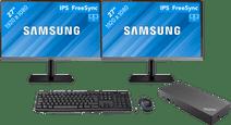 """Dual setup voor thuis 27"""" - 2x Samsung LS24R650 met Usb A + C dock"""