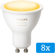 Philips Hue White Ambiance GU10 Bluetooth Lot de 8