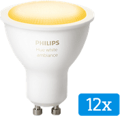 Philips Hue White Ambiance GU10 Bluetooth Lot de 12
