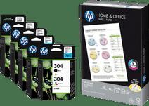 HP 304 Cartouches Pack Combiné + 500 Feuilles de Papier A4