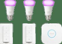 Philips Hue White & Colour Starter Pack E27 met 3 lampen + 2 dimmers