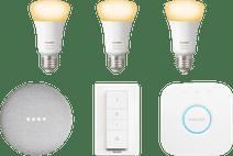 Philips Hue White Ambiance Kit de démarrage E27 + Google Nest Mini Blanc