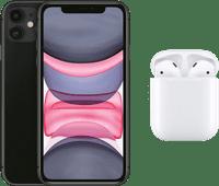 Apple iPhone 11 128 GB Zwart + Apple AirPods 2 met oplaadcase