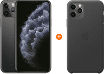 Apple iPhone 11 Pro 256 GB Space Gray + Apple iPhone 11 Pro Leather Back Cover Zwart