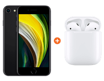 iPhone SE 128 GB Zwart + Apple AirPods 2 met oplaadcase