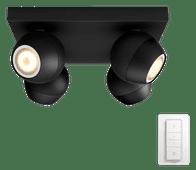 Philips Hue Buckram opbouwspot White Ambiance 4-lichts Zwart Bluetooth