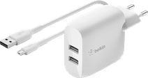 Belkin BoostCharge Oplader 2 Usb Poorten met Micro Usb Kabel 12W