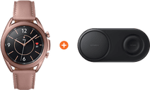 Samsung Galaxy Watch3 Goud 41 mm + Samsung Draadloze Oplader DUO Pad Zwart