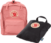 Fjällräven Kånken Mini Pink 7L +  Rain Cover Mini Black - Kinderrugzak