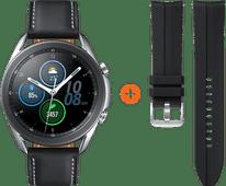 Samsung Galaxy Watch3 Zilver 45 mm + Siliconen Bandje Zwart 22mm
