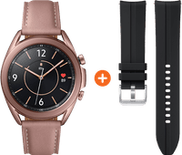 Samsung Galaxy Watch3 Gold 41mm + Silicone Strap Black 20mm