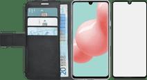 Azuri Wallet Samsung Galaxy A41 Book Case Zwart + Case Friendly Screenprotector Glas