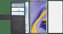 Azuri Wallet Samsung Galaxy A51 Book Case Zwart + Case Friendly Screenprotector Glas