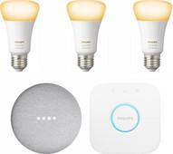 Google Nest Mini Philips Hue White Ambiance Starter 3-pack