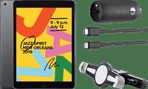 Apple iPad (2019) 128 Go Wi-Fi Gris Sidéral + Support de Voiture pour Appui-tête + Chargeu