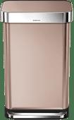 Simplehuman Poubelle rectangulaire Liner Pocket 45 litres Or rose