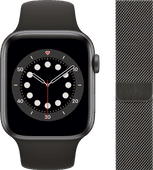 Apple Watch Series 6 44mm Space Gray Aluminium Zwarte Sportband + Milanees Grafiet