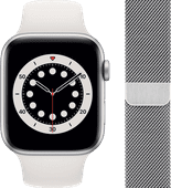 Apple Watch Series 6 44mm Zilver Aluminium Witte Sportband + Apple Watch 42/44 mm Polsband