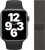Apple Watch SE 44mm Space Gray Aluminium Zwarte Sportband + Apple Watch 42/44 mm Polsband